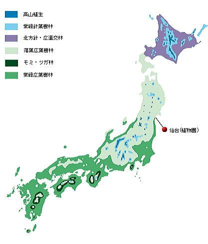 【日本の植生】ここに掲げた植生図は、吉岡邦二(1973)から描いたものです。